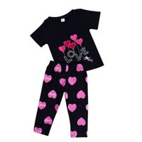 Wholesale love leisure for sale - Kids T Shirt Set Love Print Short Sleeve Trousers Round Neck Cotton Black Leisure Quick Drying
