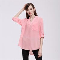 6f042bcb29 women clothes Women's Loose Chiffon Blouses Casual Pockets T Shirt V-Neck Long  Sleeve Womens Tops And Blouses Plus Size 5XL YFF 6145