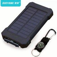harici güneş şarj cihazı toptan satış-LED Işık ile Smartphone için Güneş Enerjisi Bankası Su geçirmez 30000mAh Güneş Şarj 2 USB Girişi Harici Şarj Powerbank