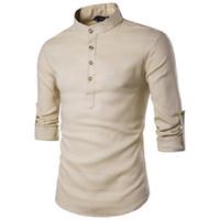 vestidos de lino nuevos al por mayor-Camisa de lino de algodón de color caqui Hombres 2019 Otoño Nueva manga enrollada para hombre Camisas de vestir ocasionales Camisa Slim Fit Henley Hombre Chemise Homme