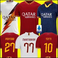 Wholesale totti roma jersey resale online - soccer jersey AS DE ROSSI DZEKO ZANIOLO rome TOTTI PEROTTI jerseys roma football shirt Men Kids kit uniforms maillot
