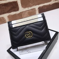 Wholesale leather metal business card holder resale online - 2019 Top Quality Celebrity design Letter Metal Buckle V shaped Mini Wallet Card Back Cowhide Leather Man Woman Purse Clutch