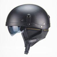 Wholesale dual lens half face helmet resale online - Motorcycle Motorbike Rider Half Open Face PU Leather Helmet with dual lens DOT