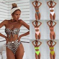 ingrosso nuovo costume da bagno alto in vita-Nuova vita alta bikini del 2019 Leopard Costume donna due pezzi a fascia sagomata Costumi Swim Halter costumi da bagno per