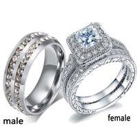 sz6 ring großhandel-Paar Ringe seine ihr Edelstahl CZ Ring Ehering Zirkon Frauen Verlobungsring Sets Sz6-10