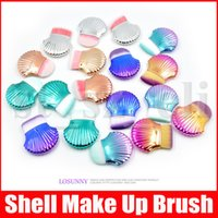 Wholesale multi angle resale online - Shell Foundation Makeup Brush Angle Round Flat Top Power Blush Cosmetic Beauty Facial Make Up Brushes Tools Maquiage