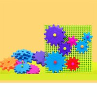 ingrosso grandi blocchi di plastica-Grandi particelle per bambini assemblati blocchi di puzzle Kindergarten early education pezzi di fiocchi di neve in plastica Gear blocchi giocattoli per bambini