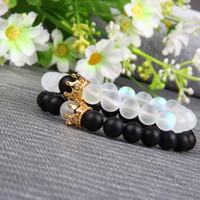 geschenk 2pcs großhandel-2 teile / satz New Luxury Designer Perlen Armband Männer Und Frauen Crown Macrame Hochzeit Stil Charme Armbänder Armreifen Zubehör Geschenk