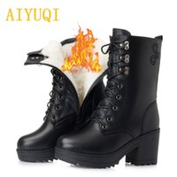 Wholesale big boots females for sale - Group buy AIYUQI new winter women boots female waterproof sexy warm wool snow boots women big size women genuine leather shoes
