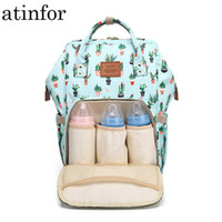 Wholesale baby diaper bag small resale online - Cactus Printing Mummy Backpack Hanging Trolley Diaper Baby Care Backpacks Bag Maternity Mother Nappy Bagpack Y19052202