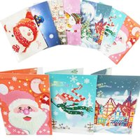 Wholesale painting birthday parties resale online - 8pcs D DIY Drill Diamond Painting Greeting Card Birthday Xmas Party Gifts