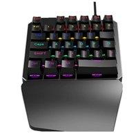 tastaturtastaturschalter großhandel-J100 Wired USB Keyboard Mechanisches Einhand-Griffbrett mit 35 Tasten Blauer Schalter Mini Gaming Keypad LED-Hintergrundbeleuchtung für Laptops