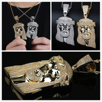 Wholesale white jesus piece for sale - Group buy New Fashion K Gold White Gold Plated CZ Cubic Zirconia Big Iced Out Jesus Piece Pendant Necklace Hip Hop Miami Rapper Jewelry for Men