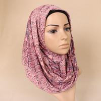 ingrosso sciarpa lunga in boemia-Donne all'ingrosso stampato sciarpe floreali bohemien sciarpe elastiche scialli hijab musulmano lungo avvolgere la fascia sciarpa 180 * 80 cm