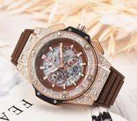 relógios de imitação venda por atacado-Alta Qualidade HB HUBLOT 42 MM de Alta-grade de 6-pinos em execução segundos dos homens de negócios de silicone relógio Cronógrafo relógios