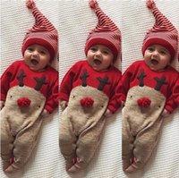 bebek xmas kıyafeti toptan satış-XMAS Bebek Yenidoğan Bebek Erkek Kız Noel Romper Bodysuit Tulum Sevimli Çocuklar Kıyafet Seti + Şapka Suit