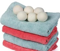 tissu feutré blanc achat en gros de-Boules de séchage en feutre de laine naturelle Boules de blanchisserie 4-7CM Un assouplissant de tissu non toxique réutilisable réduit le temps de séchage Boules de couleur blanche