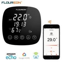 wifi home controller großhandel-Floureon Smart WiFi Thermostat Programmierbare Fußbodenheizung Temperaturregler APP Unterstützung mit Feuchtigkeitssensor