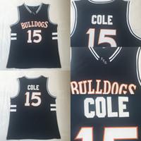 baloncesto negro jersey envío gratis al por mayor-Bulldogs High School # 15 J. Cole Baloncesto Jersey Negro Película Baloncesto Jersey Rápido Envío gratis Hombres