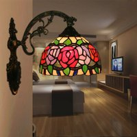 Wholesale european wall switch resale online - Tiffany Apliques de pared European American Vintage Bar Restaurant Aplik lamba Hotel Living Room Bedroom Light