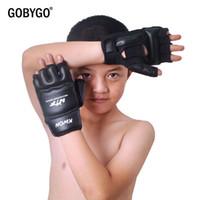 Wholesale sparring gear kids resale online - GOBYGO Half Fingers Kids Sandbag Training Boxing Gloves PU Leather Fitness Sparring Taekwondo Gloves Fighting Hand Protector Y191202