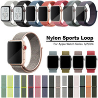 38mm renkli izle toptan satış-Naylon Döngü Kayışı Apple Watch Band Için 4 3 2 1 Spor Bilezikler Ayarlanabilir Nefes Akıllı WatchBand 37 Renk 40mm 44mm 38mm 42mm