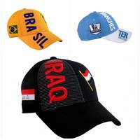 красные синие футбольные команды оптовых-Буква Флаг Вышивка Футбольная Шапка Буква Pattern Бразилия Команда Snapback Мужчины И Женщины Купол Hat Blue Red Bardian 18bd C1