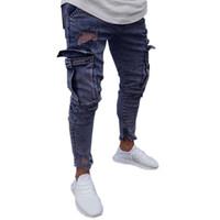 корейские мужчины карандашные джинсы оптовых-Fashions Denim Mens Korean Stretch Hip Hop Pockets Ripped Jeans Masculino Slim Fit Skinny Trousers Jeans For Men Pencil Pants 20