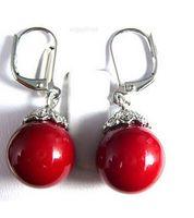 красные коралловые серьги оптовых-Оптовая 12X16MM серый South Sea Shell жемчужные серьги Бесплатная доставка Красный коралловые бусины Белый цветок крюк серьги