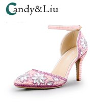Wholesale pink bridesmaids sandals resale online - Pink Crystal Party Sandals Pointed Toe Ankle Strap Silver Rhinestones Women Shoes for Wedding Bridesmaid Banquet Handmaid