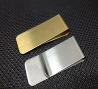 Wholesale money clippers resale online - Stainless Steel Brass Money Clipper Slim Money Wallet Clip Clamp Card Holder Credit Name Card Holder SN1086