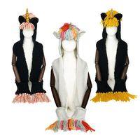 hoodie tığ işi toptan satış-Cep Kış kulaklığı Crochet Örme Beanie Hat LJJK1883 ile Tığ Örgü Unicorn Kapşonlu Eşarp Şapka Hoodie Hayvan Püskül Eşarp