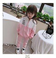 kız takım elbiseleri toptan satış-Yeni Kızlar Güz Butik Giyim Çocuk Eşofman çocuk giysi tasarımcısı kızlar eşofman kız ter takım elbise ceket + pantolon ço ...