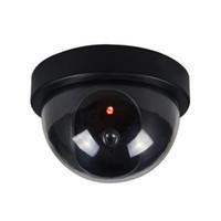 plastik kubbeler toptan satış-Siyah Plastik Akıllı Kapalı / Açık Kukla Ev Dome Sahte CCTV Güvenlik Kamerası Yanıp Sönen Kırmızı LED Işık ile CA-05