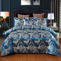 Wholesale satin quilt queen resale online - Jacquard Bedding Set Single Queen King Size Bed Linen Quilt Cover Satin Floral Comfortable Duvet Cover Sets Pillowcases