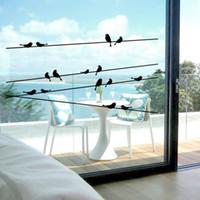ingrosso gli autoadesivi della parete del vinile uccelli dell'albero nero-100 pz vinile rimovibile adesivi murali nero uccelli albero ramo fai da te adesivi murali per porta finestra di vetro soggiorno decorazione domestica