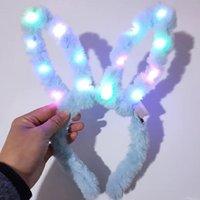 geburtstag mädchen blinkende lichter großhandel-LED Flashing Plüsch Kaninchen Ohren Stirnband Frauen Mädchen Bunny Light Up Hairband Headwear Glowing Hoop Hochzeit Geburtstag Party Favors Tischdekoration