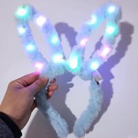 LED Flashing Plush Rabbit Ears Headband Women Girls Bunny Light Up Hairband Headwear Glowing Hoop Wedding Birthday Party Favors Table decor
