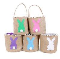 Wholesale designer kid handbag resale online - 13styles Easter Basket Canvas Rabbit Buckets Lace Easter Bunny Bags Baskets Kids Candy Tote Handbags Egg Hunt Storage Bag GGA3194