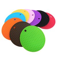 Wholesale silicone pot holders resale online - 12 cm Round Silicone Non Slip Heat Resistant Pot Table Mats Holder Coaster Cushion Mmat Pot Table Mat Silicone Placemat CCA11644 A
