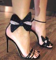 sandálias baixas sexy venda por atacado-Venda quente-Nova mulher designer de marca apontou sexy sandálias Rhinestone bowtie 11 cm de salto Alto para as mulheres vestido de noiva prom Homecoming sapatos cx597