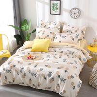 kral yataklar sarı ayarlar toptan satış-Meyve ananas Yatak Seti Nevresim kraliçe tam King Size çocuk karikatür nevresim Set sarı ve beyaz Yatak Örtüsü 26