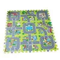 schaumpuzzles großhandel-Verkehr Spiel-Matten-Puzzle Foam Falzziegel Kinderstraßenverkehr Spieldecke Kinder Educational Playmat Teppich Baby-Spiel-Set Mat
