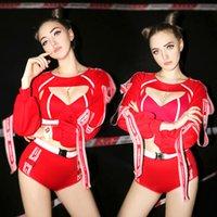 kadınlar için hazır giyim toptan satış-Wome Caz Hip Hop Kostümleri Kırmızı Amigo Dans Giysi Led Takım Elbise Bar DJ Kadın Şarkıcı Gece Kulübü DS Kutup Dans giyim