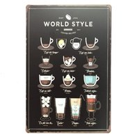 Wholesale vintage style posters for sale - Group buy World Style Coffee Recipes Retro Vintage Decorative Tin Metal Poster Cafe Bar Pub home office Wall Denim Artside Painting