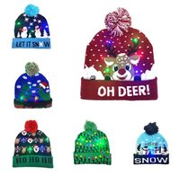Wholesale crochet reindeer hats for sale - Group buy Led Christmas Knitted Hat Xmas Light up Beanies Hats Outdoor Light Pompon Ball Ski Cap For Santa Snowman Reindeer Christmas Tree BY1148