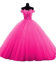 vestido rosa amarillo al por mayor-Lo nuevo rojo lila amarillo rosa vestidos de quinceañera 2019 Applqiues Beads Sweet 16 Prom Pageant Debutante noche formal vestido de fiesta vestido de fiesta AL62