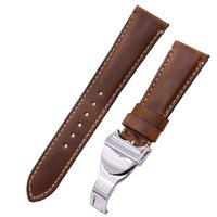 bracelets de montres en cuir vintage achat en gros de-CARLYWET 20 22mm Vintage Couleur Cuir Véritable Bracelet de Remplacement Bracelet de Ceinture Boucles Ceintures Boucles Bande