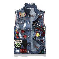 mens kafatası yelekleri toptan satış-Yeni Moda Motosiklet Erkekler Yelek Yelek Hip Hop Kot Erkek Denim Yelek Ceket Tasarımcısı Kolsuz Işlemeli Kafatası Ceket Boyutu M-3XL