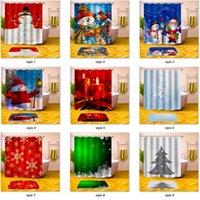 kanca duş perdesi toptan satış-Noel Duş Perdesi Noel Baba Kardan Adam Çan Ağaçları Noel Banyo Duş Perdesi 12 adet Kanca ile Su Geçirmez Polyester Kumaş 180X180 cm